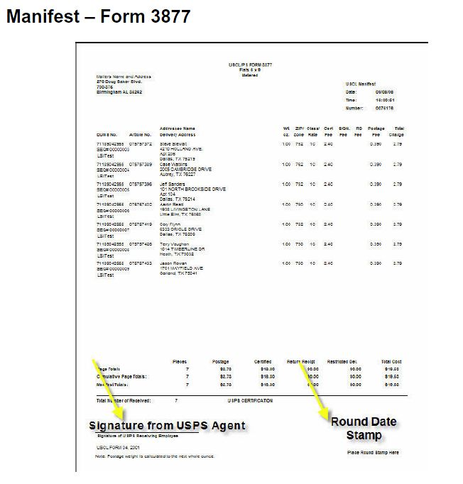 Manifest Firm Sheet Ps 3877 Usps Certified Mail