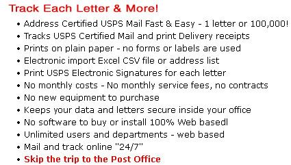 Certified Mail Envelopes Free Trial Sign-Up