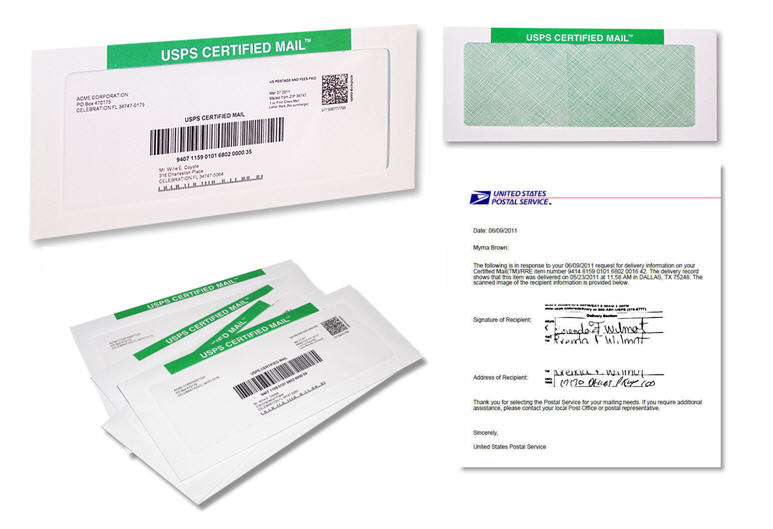 certified mail envelopes with return receipt requested