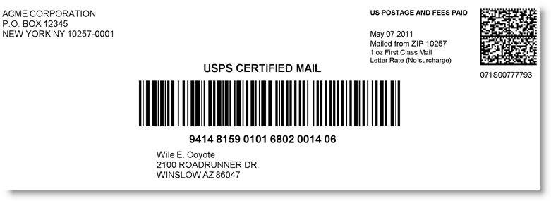 usps certified mail online label with postage